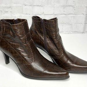 Franco Sarto Vegan Textured High Heel Ankle Boots